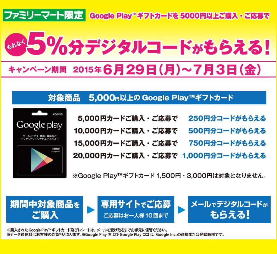 ファミリーマートでGoogle Play ギフトカード10000円分を買うと500円分、2万円分購入で1000円分のデジタルコードがもれなく貰える。