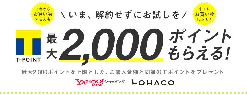 Yahoo!プレミアム会員を解約すると、人によっては2000Tポイントが貰える。Y!ショッピングやLOHACOで使用可能。