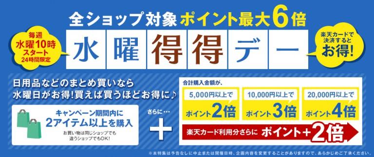 楽天で水曜得得デーで2アイテム5000円購入で2倍、1万円以上で3倍、2万円以上で4倍。木曜10時まで。