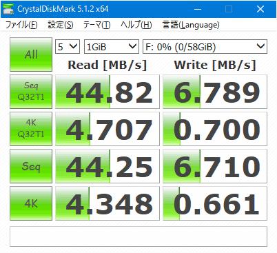 東芝のSDXCカード64GB「THN-N301R0640C4」のベンチマーク結果。リード44MB/s、ライト6.8MB/sってくっそ遅いやんけ。