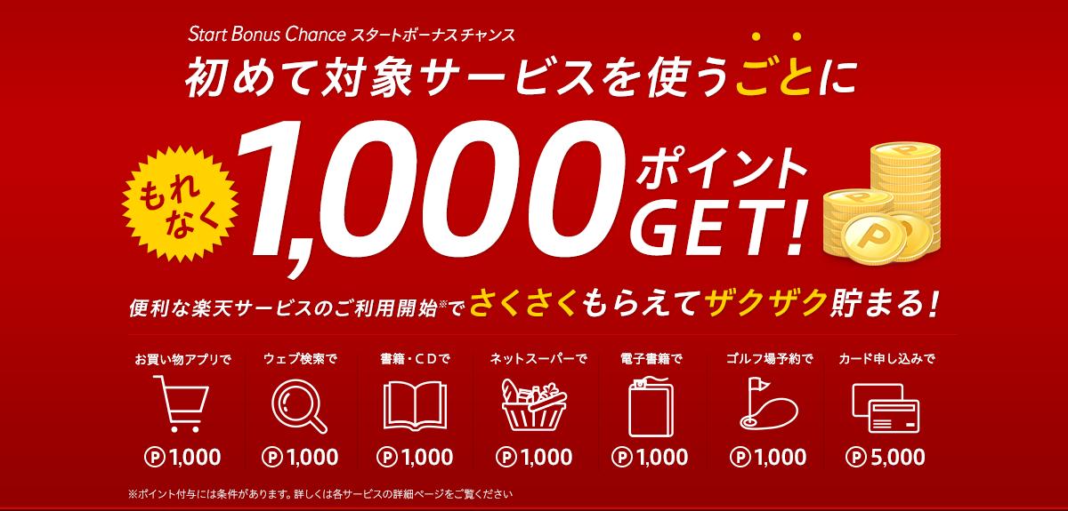 楽天の初めて対象サービスを使うごとにもれなく1000ポイント、合計11000ポイントが貰える。