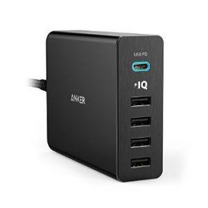 アマゾンタイムセールでAnker PowerPort 5 USB-C (40W 5ポート USB/USB-C 急速充電器) A2052511が2399円。MacBook12などUSB-C機器に充電可能。