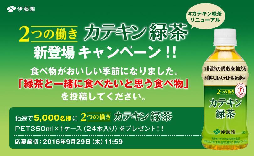 トクホの伊藤園「2つの働き カテキン緑茶」350ml×1ケース(24本入り)が抽選で5000名に当たる。~9/29 12時。