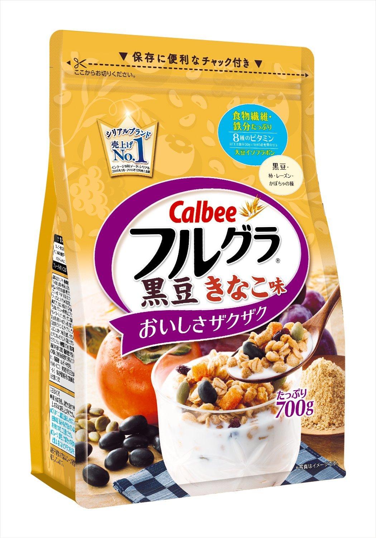 アマゾンタイムセールで「カルビー フルグラ黒豆きなこ味 700g×6袋」が3688円、1袋615円。楽天、LOHACO、Yahooショッピングで最安値。