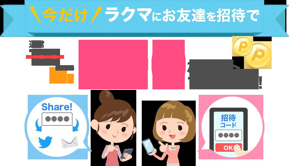 楽天のフリマアプリ「ラクマ」で友人を招待すると自分も相手も300ポイントが貰える。