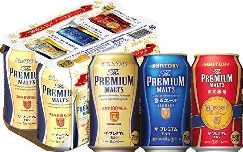 アマゾンタイムセールでサントリー ザ・プレミアム・モルツ 冬の3種飲み比べセット 350ml×24本が4710円、一本196円。
