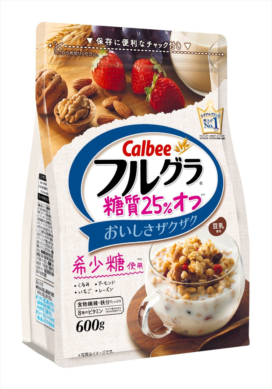 アマゾンでカルビー フルグラ 糖質オフ 25% 600g×6袋が3900円、1袋650円でセール中。