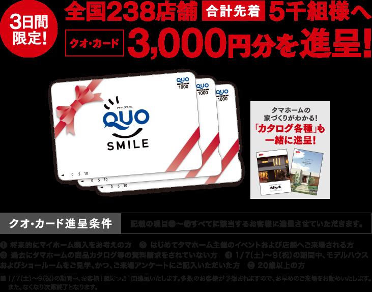 タマホームで10万棟達成記念フェアで先着5000名にQUOカード3000円分が当たる。