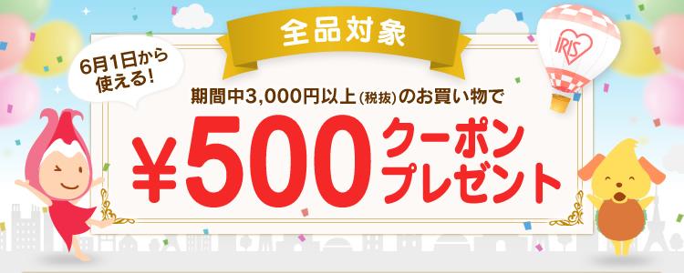 アイリスプラザで3000円以上購入で500円クーポンがもれなく貰える。