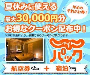 ANA/JALじゃらんパックで使える5000円~30000円分クーポンを配布中。夏休みとお盆に安く旅行出来るな。
