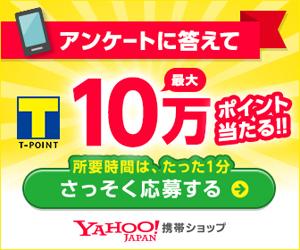 Yahoo!のアンケートに答えると、5000〜10万ポイントが抽選で140名に当たる。〜8/31。