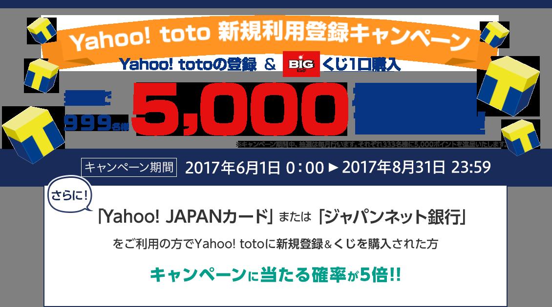 Yahoo!TOTOに新規利用登録で抽選で999名に5000Tポイントが当たる。~8/31。