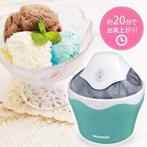 アマゾンタイムセールでアイリスオーヤマ アイスクリームメーカー バニラミント ICM01-VMが1787円⇒1480円。