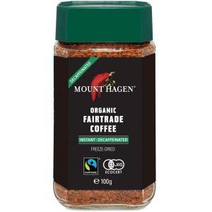 アマゾンで南米のカフェインレスのインスタントコーヒー マウントハーゲン100gが1372円⇒963円。