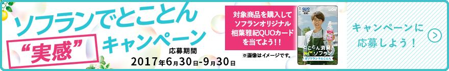 ソフランを買ってレシートをうpすると、抽選で1000名に相葉雅紀オリジナルクオカード500円分が当たる。~9/30。