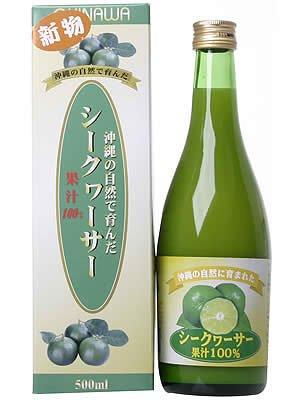 アマゾンで沖縄県産 果汁100% シークヮーサージュース(ストレート) 500mlが2592円⇒1127円。沖縄に行ったフリにどうぞ。