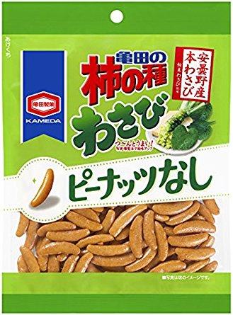 アマゾンタイムセールで亀田製菓 亀田の柿の種わさび100% 115g×12袋が1334円⇒899円、1袋75円。