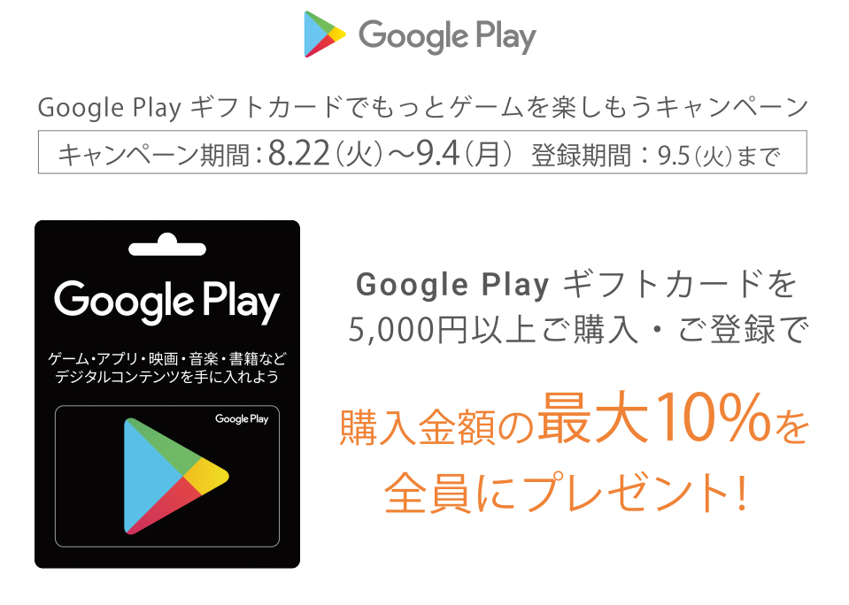 GooglePlayギフトカード5000円以上購入で10%分が余分にもらえる。~9/4。
