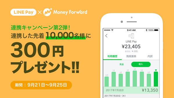 LINE Pay×マネーフォワード連携記念で先着10,000名に300円分のLINEPAYがもれなく貰える。~9/25。