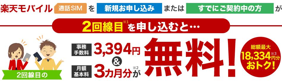 楽天モバイルで2回線目を申し込むと、事務手数料&3ヶ月間無料で最大1.8万円がお得となるセールを実施中。