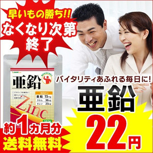 Yahoo!ショッピングで亜鉛のサプリメント1ヶ月分が22円送料無料。