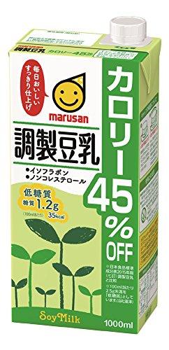 アマゾンでマルサン 調製豆乳 カロリー45%オフ 1L×6本が1175円、1本196円。