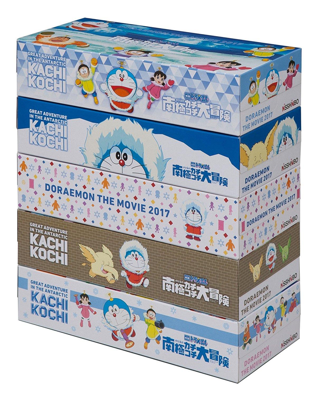 アマゾンで映画 ドラえもん のび太の南極カチコチ大冒険 ボックスティシュ 150組(300枚)×5個パックが322円⇒161円。