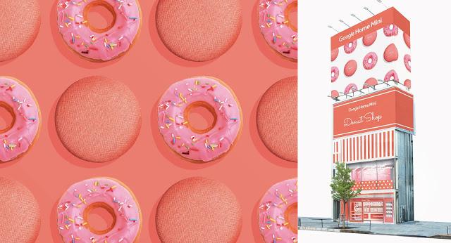Google Home mini発売記念で表参道でよく似たドーナツを無料配布中。11/8~11/13。