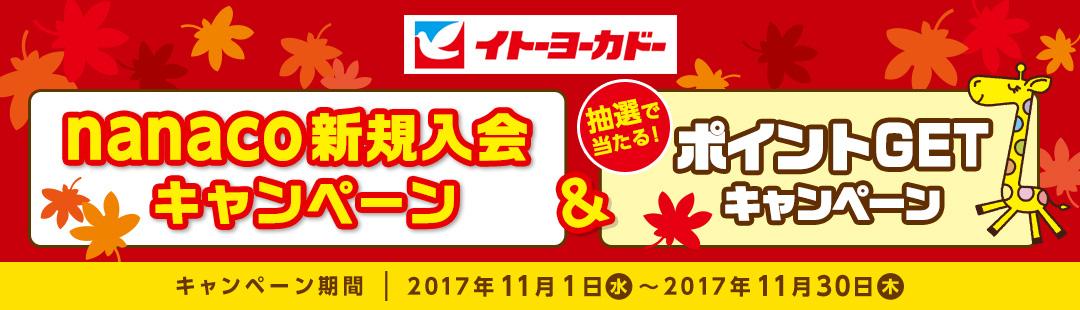 イトーヨーカドーで新規nanaco入会&1000円チャージで300ポイントが貰える。合計1万nanaco以上を使うと抽選で3000名に1000nanacoが当たる。~11/30。