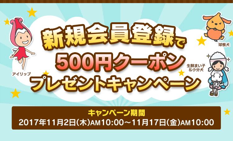 アイリスプラザで新規会員登録で500円クーポンがもれなく貰える。5000円以上で使用可能。~11/17 10時。
