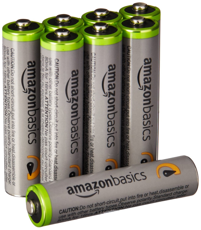 アマゾンでAmazonベーシックの高容量充電式ニッケル水素電池単4形8個パックが1945円⇒1308円。