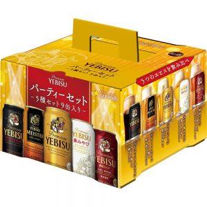 アマゾンでサッポロ ヱビス5種飲み比べ パーティーセット350ml×9本が2850円⇒2040円、1本227円。