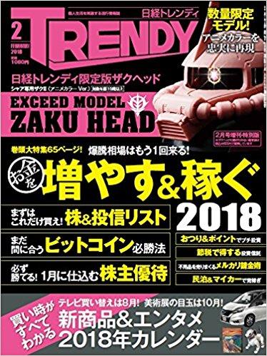 アマゾンで雑誌の日経トレンディ2018年2月号増刊 特別版を買うと、ザクヘッドが付録でついてくる。1/4~。