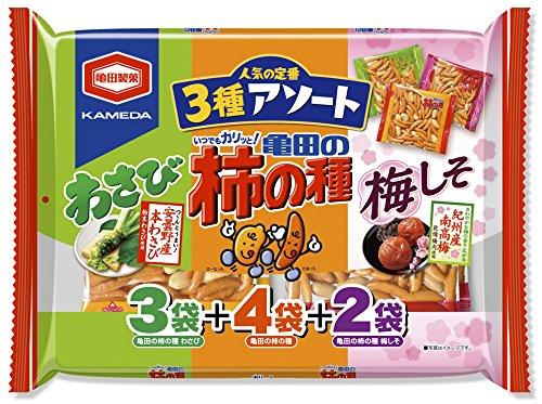 アマゾンタイムセールで亀田製菓 亀田の柿の種3種アソート 250g×12袋が3262円⇒1952円。