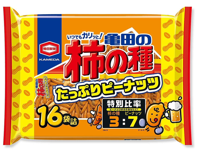 アマゾンタイムセールで亀田製菓 亀田の柿の種たっぷりピーナッツ16袋詰 560gが1200円⇒884円。
