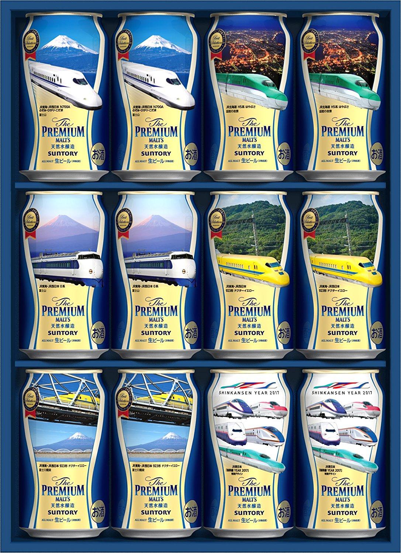 アマゾンでザ・プレミアム・モルツ 新幹線デザイン缶 ベストセレクション 350ml×12本が2580円⇒1980円、1本165円。