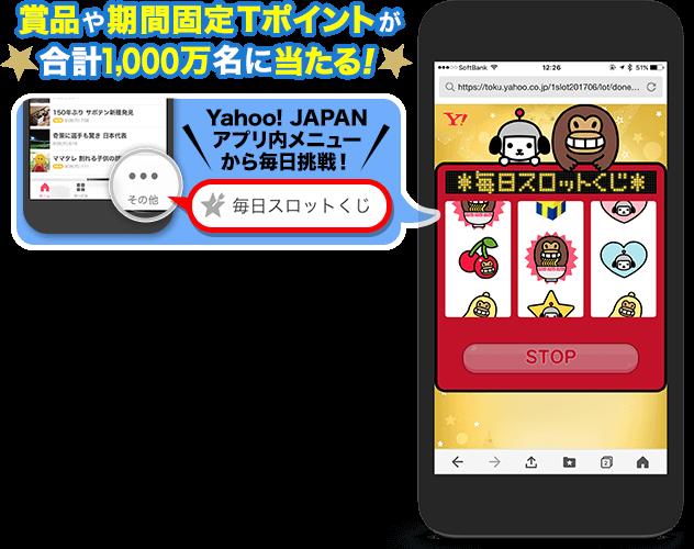 Yahoo!アプリで毎日スロットくじ。モスバーガーやモスチキン、からあげクンやTポイントが毎日大量に当たる。~1/31。