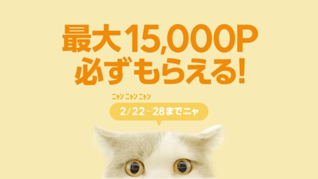 LINEショッピングで1万円以上で12%~15%ポイントバック。~2/28。