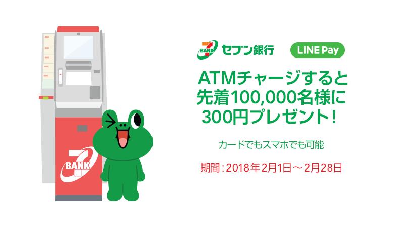 【対象者限定】セブン銀行ATMでLINE Payをチャージすると、先着1万名に500円分がもれなく貰える。~11/30。