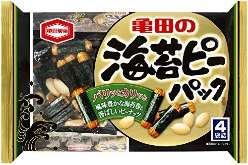 アマゾンで亀田製菓 海苔ピーパック 89g×12袋がタイムセール中。柿の種も安い。