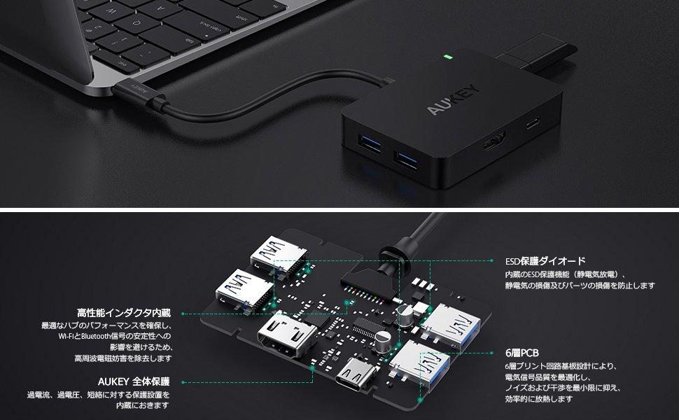 アマゾンでAUKEY USB C ハブ PD充電対応 CB-C58の割引クーポンコードを配信中。