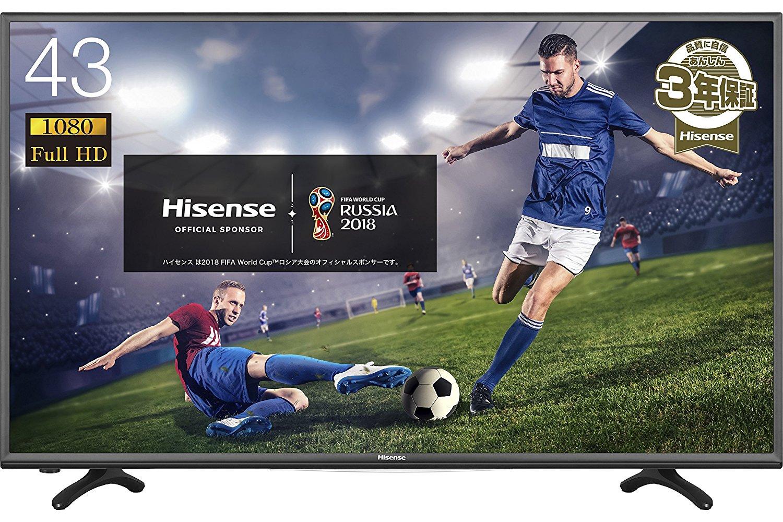 【今更】アマゾンでハイセンス 43V型フルハイビジョン 液晶 テレビ HJ43K3120 外付けHDD録画対応(裏番組録画) が41000円⇒34800円でセール中。