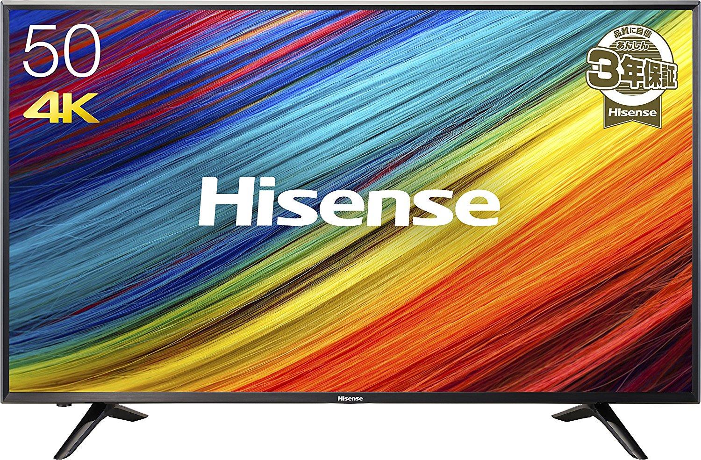 アマゾン特選タイムセールでハイセンス 50V型 液晶 テレビ HJ50N3000 4K対応が投げ売り中。