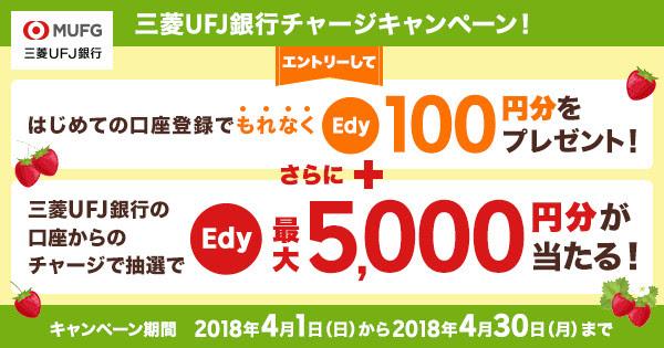 楽天Edyに三菱UFJ銀行の口座を登録するともれなく100円分のEdyが貰える。抽選で60名にEdyが当たる。~4/30。