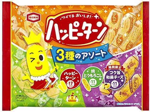 アマゾンで亀田製菓 ハッピーターン3種のアソート(コク旨和風チーズ味)×12袋が2182円⇒1682円。