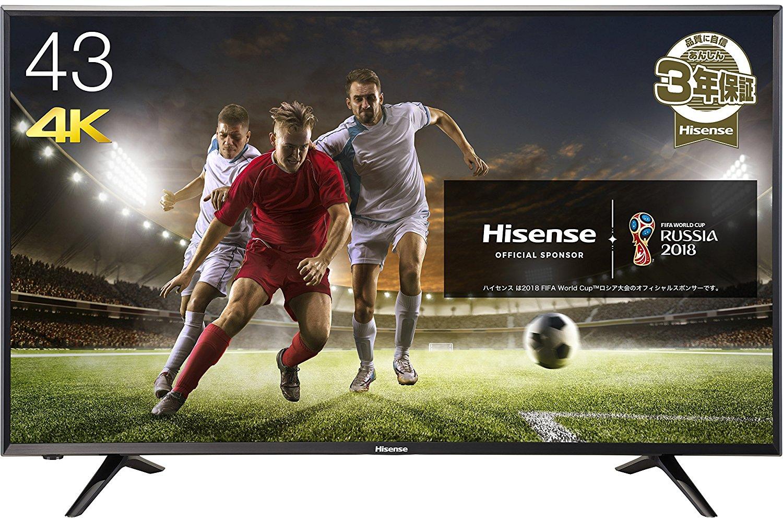 アマゾンでハイセンス 43V型 4K対応 液晶テレビ HJ43N3000が49800円⇒41700円。