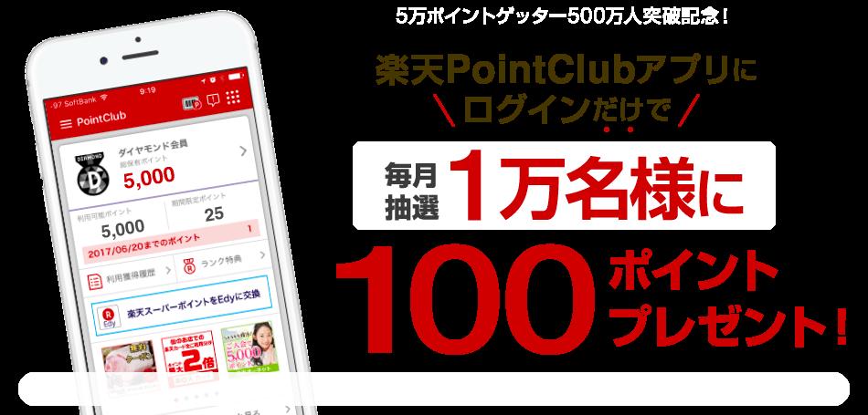 楽天ポイントクラブで毎月1万名に100ポイントが当たる。