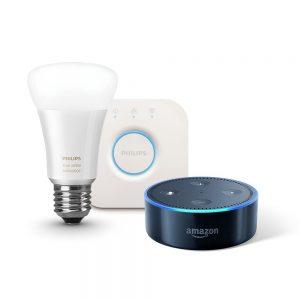 Amazon Echo Dot (Newモデル)、ブラック + Philips Hueランプ + ブリッジが16415円⇒11574円。