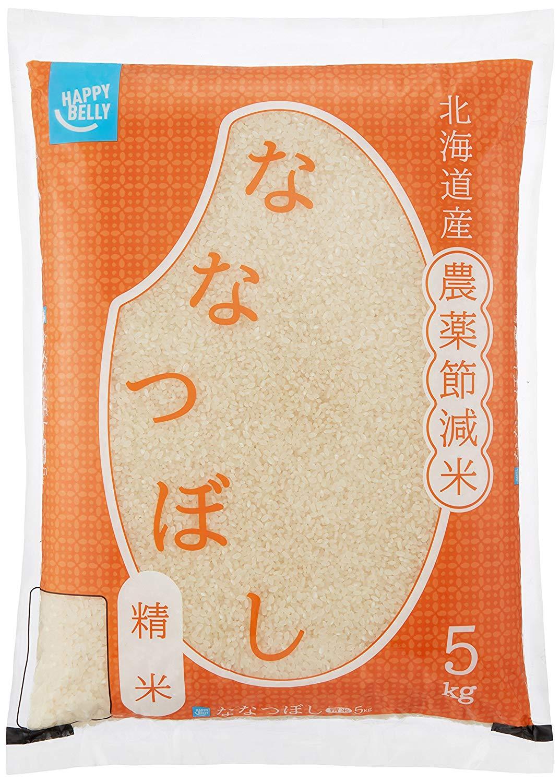 アマゾンプライベートブランドのHappy Belly 北海道産 農薬節減米 ななつぼし 5kgがタイムセール中。