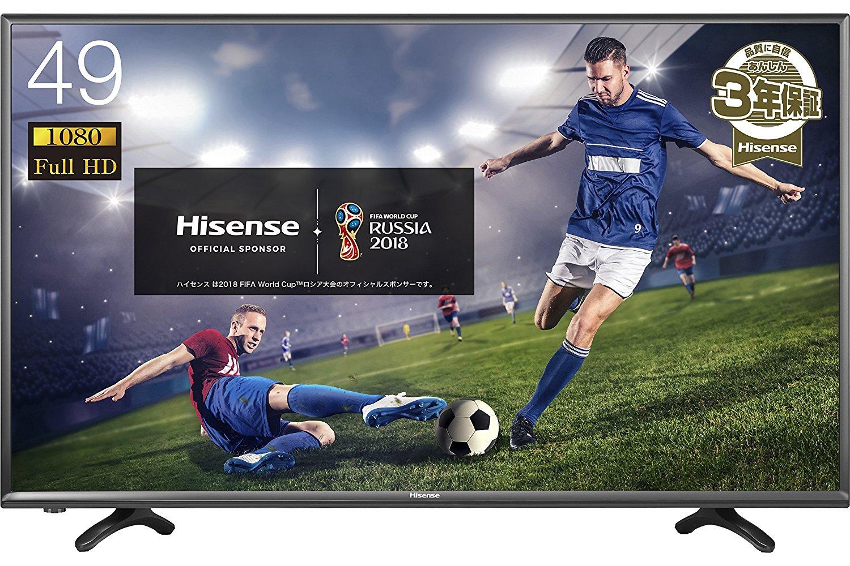 アマゾンでハイセンス 49V型 フルハイビジョン 液晶テレビ HJ49K3121が特選タイムセール。